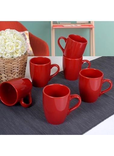 Keramika Kırmızı Alfa Kupa 11 Cm 6 Adet Renkli